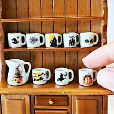 Halloween Ceramic Coffee Tea Cup Set Dollhouse Miniatures Food Drink Supply Deco