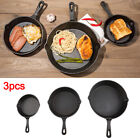 3pcs Non Stick Set Cast Iron Frying Griddle Pan Barbecue Grill Fry Bbq Skillets