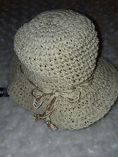 Old Navy Beige Gold Faux Straw Hat Sun Brim Sz Baby 3-6 Months Nwt