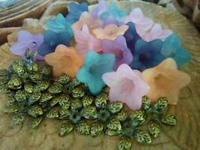 Transparent Acrylic Flower Beads with matching Antique Bronze Leaf Bead Caps
