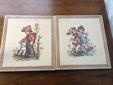 Vtg Hummel Art Lithographs Pressboard Stapco Ny Pair Boy Kitten Girls Music