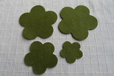 CreaPop Filz Pril Blume grün oliv 3mm 4 St Filztaschen Applikation 3 Größen