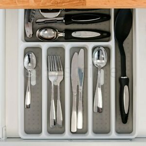 Plastic Kitchen Cutlery Tray Organiser Rack Holder Drawer Insert Tidy Storage