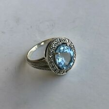 Esse Sterling Silver Blue Topaz & Marcasite Oval Antique Style Dress Ring Size L