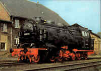 Eisenbahn Motiv-Postkarte DDR Güterzug Tender-Lokomotive Verkehrsmuseum DRESDEN