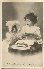 YOUNG GIRL AND DOLL.   LEARNING TO WRITE WITH PEN AND INK