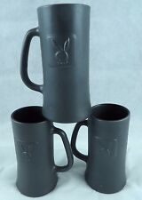 3- Black Frosted Glass Original Playboy Tall Bar Mug Beer Stein