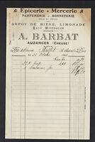 """AUZANCES (23) EPICERIE MERCERIE PARFUMERIE BONNETERIE """"A. BARBAT"""" en 1923"""