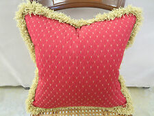 Taylor King Fabric Pillow Remy Tomato w/Gold Upholstery Feather Down 16 x 16