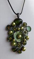 Halskette Anhänger 8 cm grün perlmutt Strass Mode-Perlen grün *NEU*