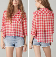 Free People Sheer Gingham Button Down Sz Large