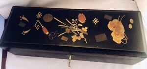 Chinese Export Black Lacquered Money Box Raised Gold Florals & Metal Coins N/R