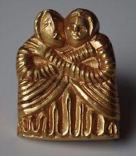 Rare Line Vautrin Vintage Gilt Bronze Brooch Art Jewelry l'Amitié Friendship