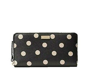 Kate Spade Shore Street Lacey Zip Around Wallet Black/Beige dots