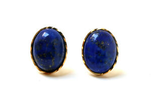 9ct Gold Lapis Lazuli Oval Stud earrings, Gift Boxed Made in UK Birthday Gift