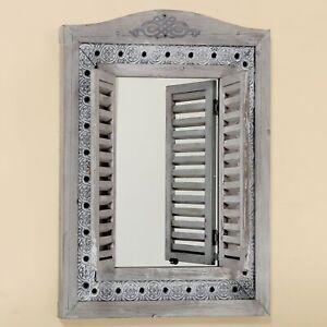 Wall Mirror IN Grey With Shutters And Eisenbeschlägen Window Mirror New