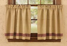 """Window Curtain - Tier Pair 24"""" L - Sturbridge Burlap & Check in Wine"""