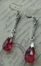 VINTAGE STYLE BURGUNDY EARRINGS   Art Deco Nouveau Silver