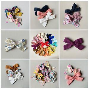 Regular Pigtail Hair Bows - Liberty, Linen, Cotton