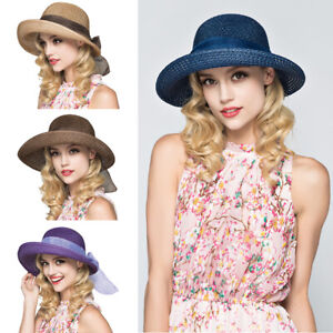 Adjustable Foldable Women Travel Summer Sun Straw Hat Wide Brim Party