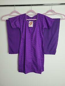 Plain Purple Cotton Salwar Kameez Ladies Party Indian Outfit Size Small 8