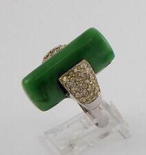 Costume Crown Trifari Ring Art Deco Jade Green Celluloid with Rhinestones