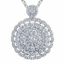 3 Carat Large Sterling Silver Cubic Zirconia Cluster Pendant Necklace with Chain