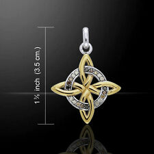 Celtic Four Point Knot Swarovski Crystal Silver and Gold Pendant Peter Stone