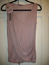 NWOT SOPRANO Mauve Pink Rosette & Chains Accented Top Size Small