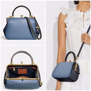 COACH NWT 69534 Glovetanned Leather SLATE BLUE Frame Kisslock 23 Handbag