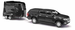 HO 1:87 Busch # 52814 - 2016 Ford Ranger Crew Cab Pickup Truck w/Horse Trailer B