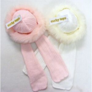AW20 Baby Girl Knitted Winter Russian Style Hat Fur Trim/Attached Scarf Pink