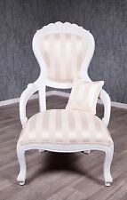 Baroque Armchair Antique Solid Ornamental Chair High Back White Gold Stilart