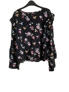 Size 16 Black Flowered Long Sleeve Blouse Top -(C107)
