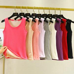 Women Lady Tank Top Knited Thermal Underwear Vest Elastic Lined Fleece Warm