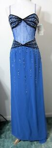 XTREME 4 Blue Dress Beaded Sheer Waist Evening Formal Gown Pageant Prom NWT