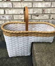 Classy White Wicker Staircase Basket Rattan Handle Key Holder Shoe Storage Stair