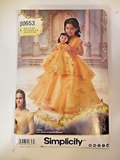 Simplicity Disney Beauty & the Beast Child 1in Doll Costume Pattern D0653 Uncut