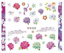 Nail Art Sticker 3D Decals Transfers Pink Purple Green Flowers (E320)