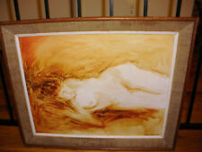 Vintage oil painting reclined nude woman artist Paula Russikoff signed