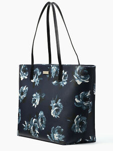 Kate Spade Margareta Navy Floral Extra Large Saffiano Tote WKRU5555 NWT $299 FS