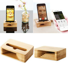 Wood Bamboo Phone Holder Sound Speaker Amplifier Desk Dock Stand for iPhone