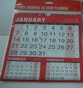 2018 Hanging Wall Calendar 3 Months to View Planner-Easy View Calendar