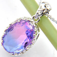 Oval Rose Bi Colored Watermelon Tourmaline Silver Necklace Pendants With Chain