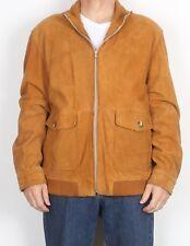 "Suede Bomber Jacket Coat Large XL 44"" Brown (75F)"