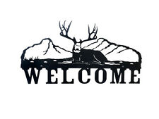 "Metal Steel Mule Deer Welcome Sign 14"" x 24"""