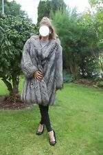 Luxus Silberfuchs Mantel echt Pelz Fell Fuchs mit Kaputze  FUR шуба