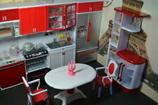 Barbie Size Dollhouse Furniture Modern Comfort Dining Room and Kitchen Set