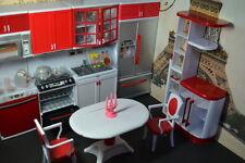 Barbie Size Dollhouse Furniture Modern Comfort Dining Room and Kitchen Set