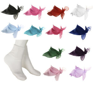 White Bobby Socks & Colorful Sheer Chiffon Scarf - 50s Style Accessories Hey Viv